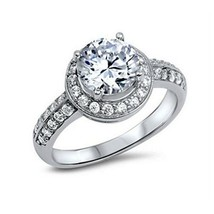 Sterling Silver ring size 9 CZ Round cut Engagement Wedding Bridal Halo New x09 - $14.45