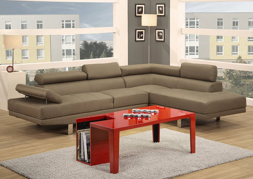 2 Piece Sectional Sofa Functional Armrest Back Support