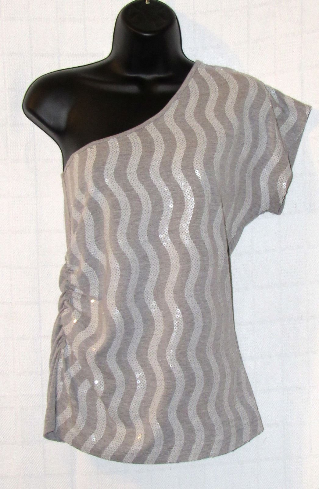 Fleurish Striped Sequin One Shoulder Knit Tube Top Gray Size: M