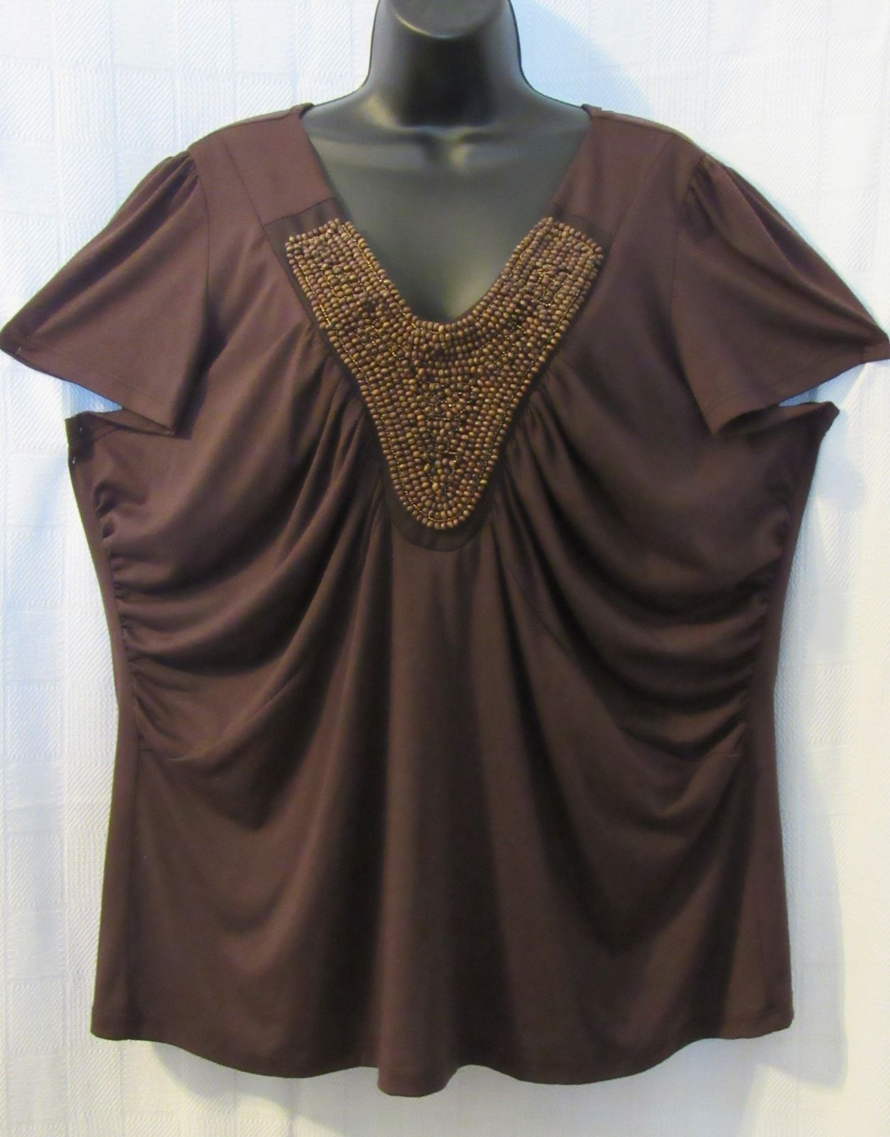 Moa Moa Woman Brown Embellished Beaded Knit Top Cap Sleeve Cotton Blend Plus 1X