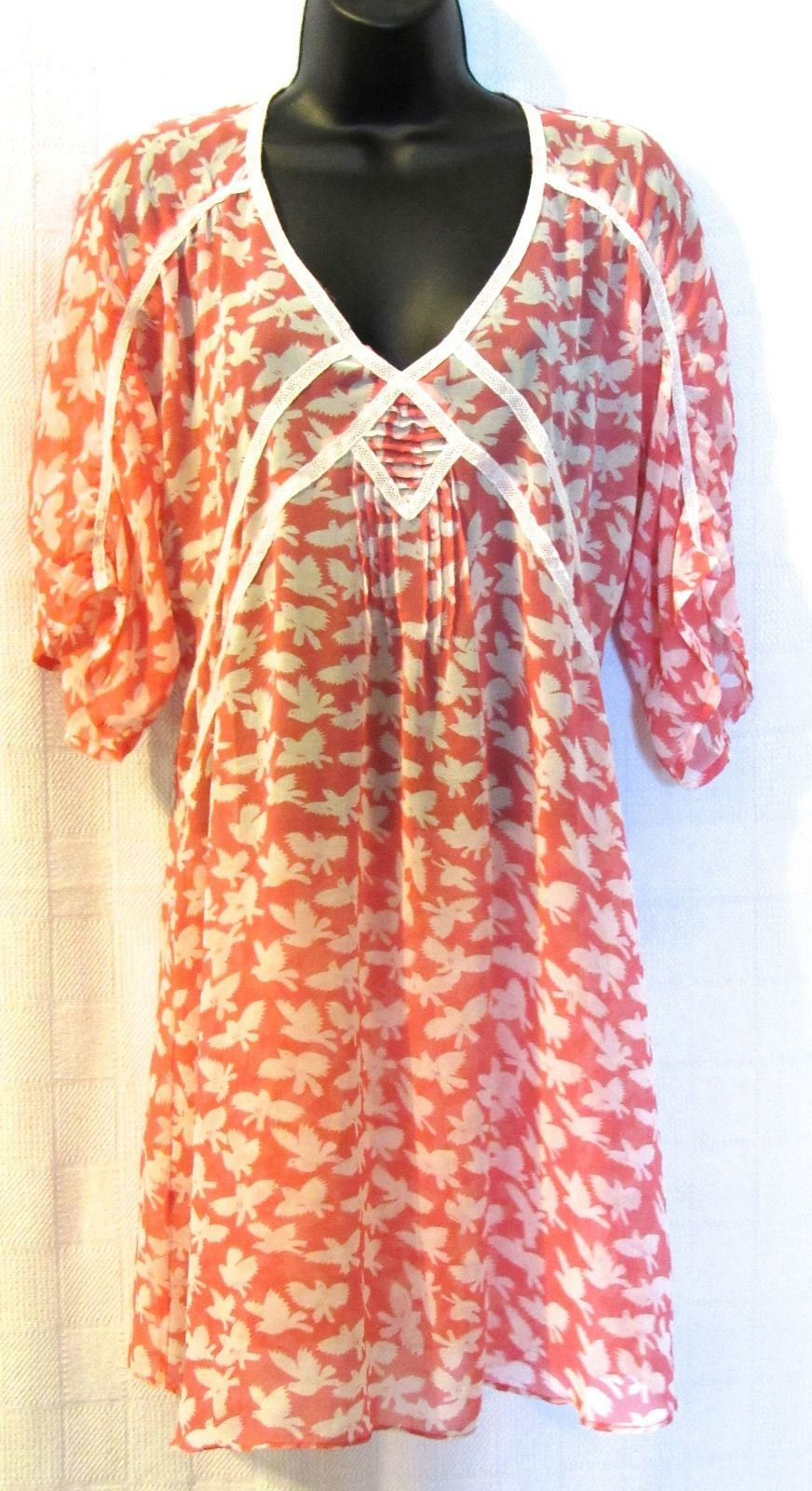 Black Rainn Bird Print Multi-Color Peach Chiffon Top Polyester Size: M
