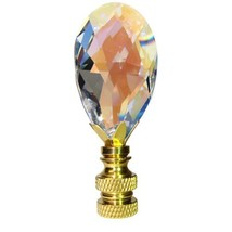 Lamp Finial Swarovski Crystal Aurora Borealis Faceted Almond Lamp Shade ... - $21.75
