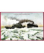 Ludington Michigan Ships Ice Winter Scene MI - $10.00
