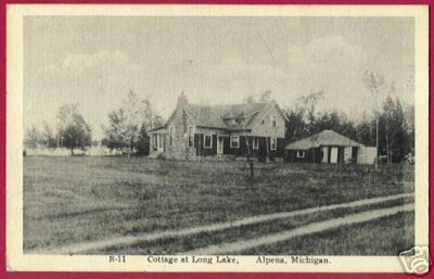 ALPENA MICHIGAN Cottage Long Lake B&W MI