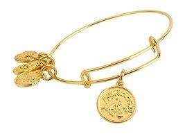 Aquarius Pendant Bangle Expandable Bracelet Shiny Gold Tone  - $17.95