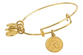 Leo Pendant Bangle Expandable Bracelet Shiny Gold Tone  - $17.95
