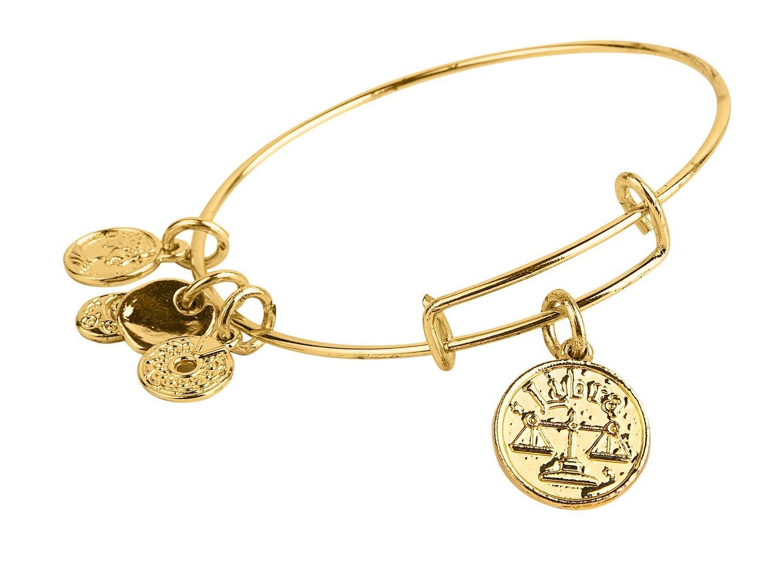 Libra Pendant Bangle Expandable Bracelet Shiny Gold Tone