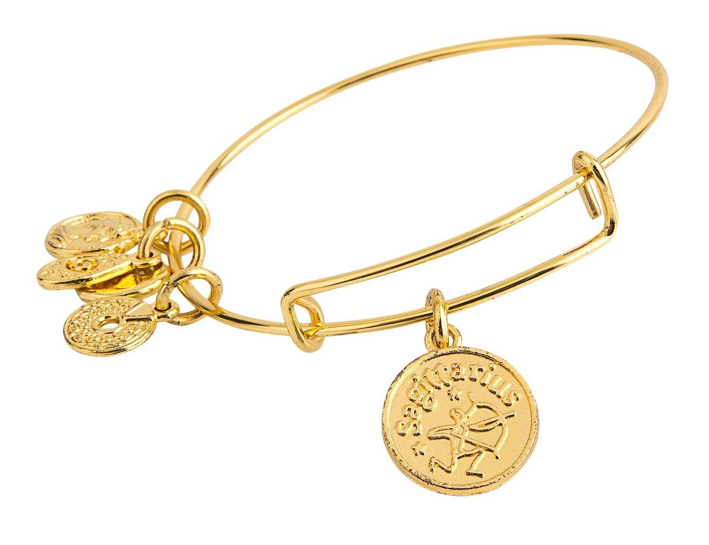 Sagittarius Pendant Bangle Expandable Bracelet Shiny Gold Tone