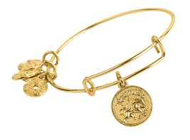 Taurus Pendant Bangle Expandable Bracelet Shiny Gold Tone  - $17.95