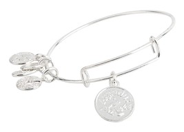 Aquarius Pendant Bangle Expandable Bracelet Shiny Silver Tone  - $17.95