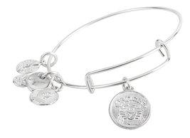 Cancer Pendant Bangle Expandable Bracelet Shiny Silver Tone  - $17.95