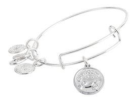 Capricorn Pendant Bangle Expandable Bracelet Shiny Silver Tone  - $17.95