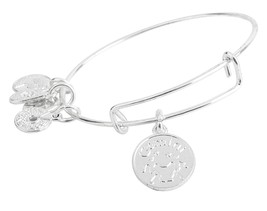Gemini Pendant Bangle Expandable Bracelet Shiny Silver Tone  - $17.95