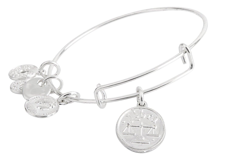 Libra Pendant Bangle Expandable Bracelet Shiny Silver Tone