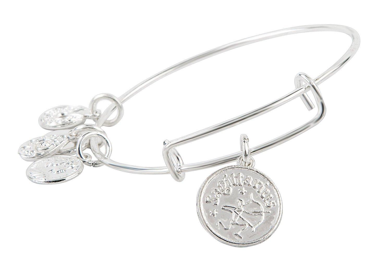 Sagittarius Pendant Bangle Expandable Bracelet Shiny Silver Tone
