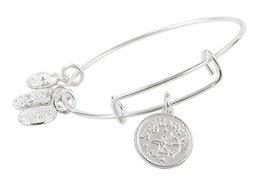 Sagittarius Pendant Bangle Expandable Bracelet Shiny Silver Tone  - $17.95