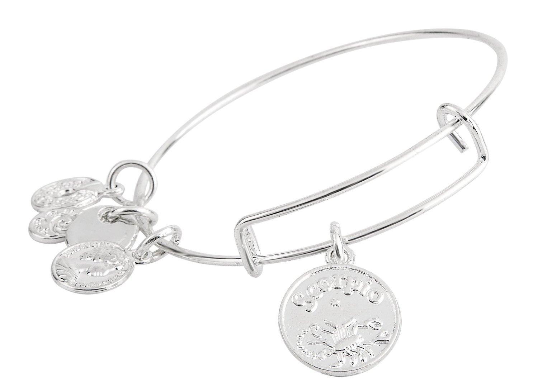 Scorpio Pendant Bangle Expandable Bracelet Shiny Silver Tone