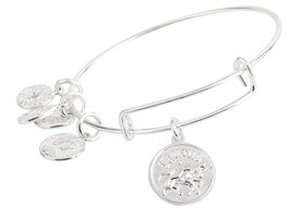 Taurus Pendant Bangle Expandable Bracelet Shiny Silver Tone  - $17.95
