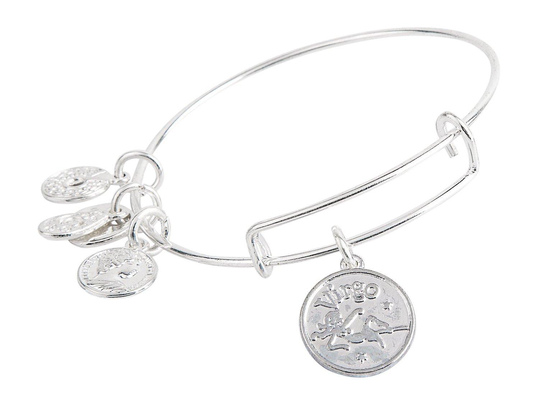 Virgo Pendant Bangle Expandable Bracelet Shiny Silver Tone
