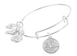 Virgo Pendant Bangle Expandable Bracelet Shiny Silver Tone  - £14.41 GBP