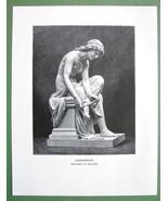 NUDE Greek Girls Lacing Sandals Sculpture - VICTORIAN Era Engraving Print - $13.46