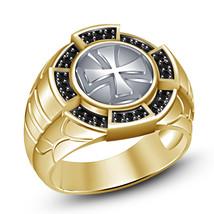 Black Diamond Yellow Gold Finishing 925 Sterling Silver Classy Biker Cross Ring - $85.13