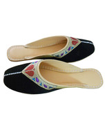 Women Shoes Traditional Handmade Leather Flip-Flops Black Jutties Clogs ... - $29.99