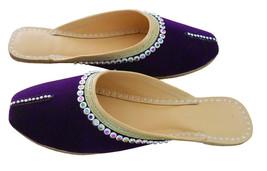 Women Slippers Indian Handmade Leather Purple Traditional Clogs Mojari US 6-10 - $29.99