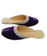 Women Slippers Indian Handmade Leather Purple Traditional Clogs Mojari U... - $29.99