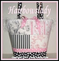 Pink Black Diaper Bag Tote Central Park Stripes Polka Dots Rosebud For G... - $65.00