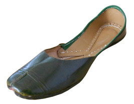 Women Shoes Indian Handmade Leather Traditional Flip-Flops Green Mojari ... - £21.59 GBP