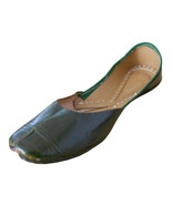 Women Shoes Indian Handmade Leather Traditional Flip-Flops Green Mojari ... - $27.99