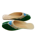 Women Slippers Traditional Handmade Leather Green Clogs Jutties US 6-10 - $29.99
