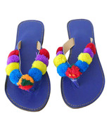 Women Slippers Traditional Indian Handmade Leather Flip-Flops Blue Flats... - $27.99