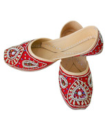 Women Shoes Indian Traditional Handmade Leather Red Oxfords Flat Jutties... - $29.99