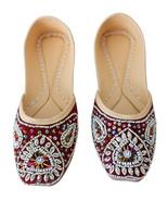 Women Shoes Traditional Handmade Leather Mojari Oxfords Maroon Jutties U... - $29.99