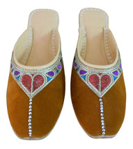 Women Slippers Indian Handmade Leather Brown Traditional Clogs Jutties US 6-10  - $24.99