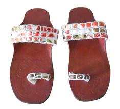 Women Slippers Traditional Indian Handmade Flip-Flops Brown Slip On US 5-10  - $27.99
