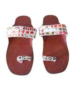 Women Slippers Traditional Indian Handmade Flip-Flops Brown Slip On US 5... - $27.99