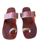 Women Slippers Traditional Handmade Leather Flip-Flops Flat Brown US 6 - $27.99