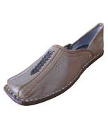 Men Shoes Indian Handmade Leather Traditional Flip-Flop Mojari Flat US 8 - $34.99