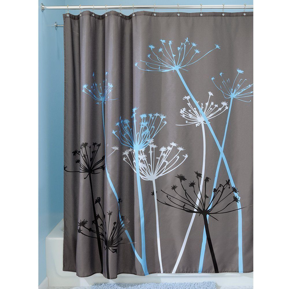 ... Accent Black Floral Design Fabric Shower Curtain - Shower Curtains