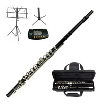 MERANO BLACK FLUTE WITH CASE KEY OF C + METRO TUNER + STAND + MUSIC STAND - $119.00