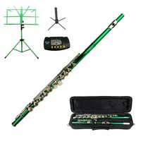 MERANO GREEN FLUTE WITH CASE KEY OF C + METRO TUNER + STAND + GREEN MUSI... - $119.00