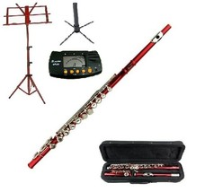 MERANO RED FLUTE WITH CASE KEY OF C + METRO TUNER + STAND + RED MUSIC STAND - $119.99