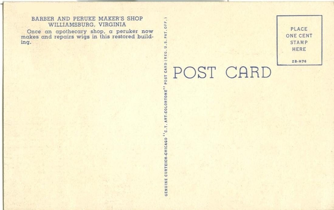 The Barber and Peruke Maker's Shop, Williamsburg, Virginia unused linen Postcard