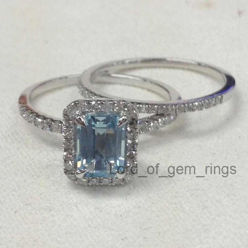 Wedding ring setsemerald cut aquamarine and 16 similar items for Emerald cut diamond wedding ring sets