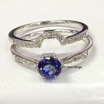 2 Wedding Ring Sets,7mm Round Tanzanite Diamond Engagement Ring,14K Whit... - $508.68+
