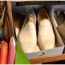 Handmade Men's White Slip Ons Loafer Heart Medallion Leather Shoes image 1