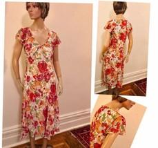 80's Poly Floral Chiffon Dress - $55.17